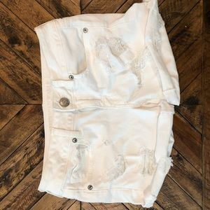 Destroyed White American Eagle Shorts
